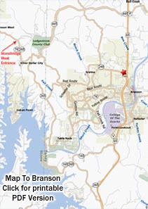 Printable PDF Map to StoneBridge Village in Branson