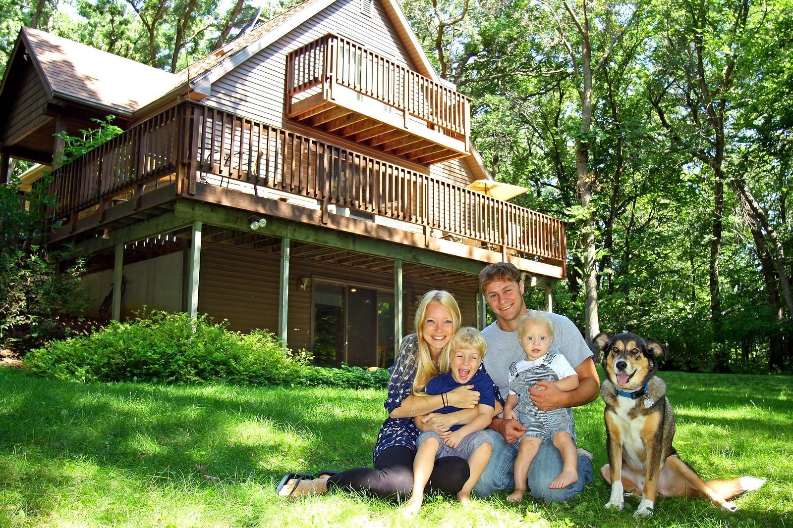 family with dog pet
