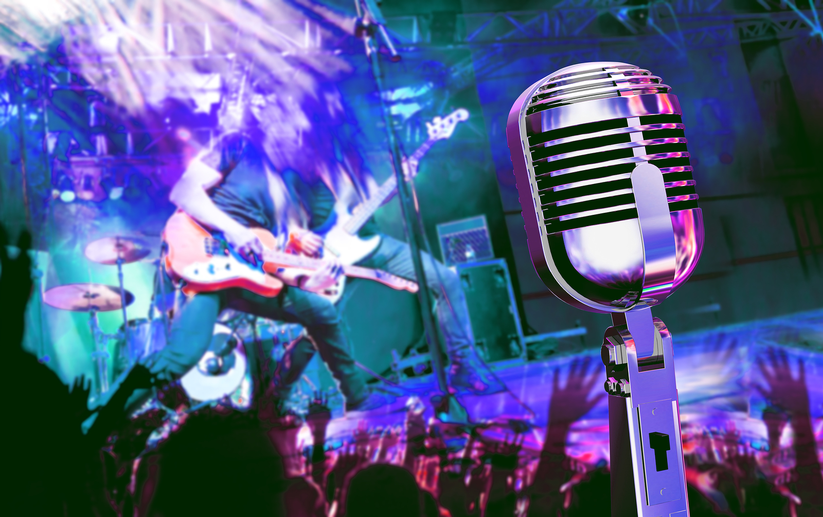 Live music and concert. Guitarist and music band background. Night entertainment and festival events.Musical performance on stage. Recreation and music show.