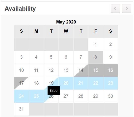 Branson Regal New Booking Rates Calendar